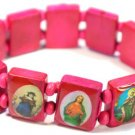 Fuschia Jesus Bracelet/Armband with Saints and Religious Icons wood panels