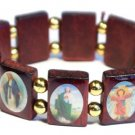 Gold and Brown Jesus Bracelet/Armband with Saints and Religious Icons wood panels