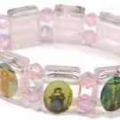 Pink 'Crystal' Jesus Bracelet/Armband with Saints and Religious Icons