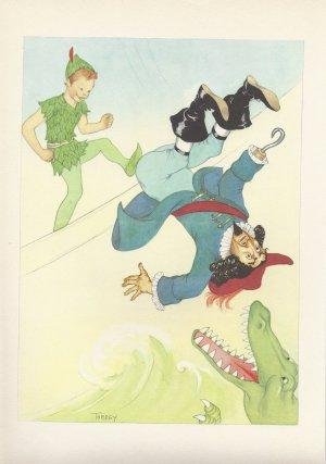 Peter Pan, Vintage Print, Peter Fights Captain Hook