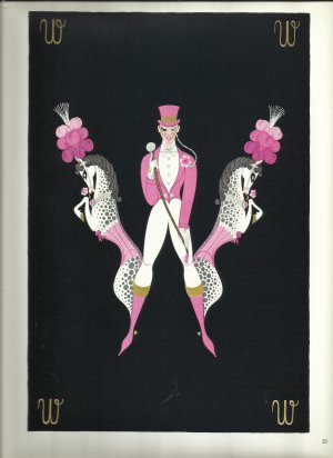 Erté Alphabet, Vintage Illustration, Letters W and Y, Reverse Side; Art, Design, Typography Print