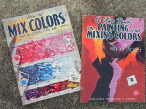 Set of 2 Vintage How to Mix Colors and Materials To Use, Art Instruction Books