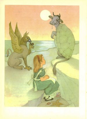 Alice in Wonderland, Vintage Fantasy Print, Alice & the Mock Turtle; Antique Fairy Tale Illustration