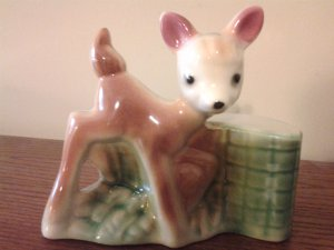 Vintage Baby Deer Bambi like Fawn Ceramic Figurine; Mid Century Collectible