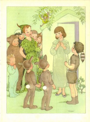 Peter Pan, Vintage Print, Friends in NeverNever Land; Antique Fairy Tale Illustration