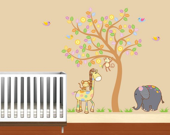 Kids vinyl wall decal Tree with Elephant Giraffe Monkey and Birds.
