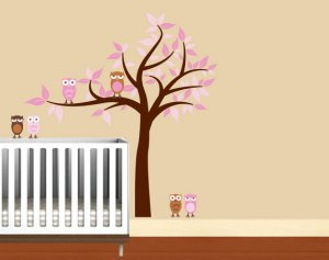 Kids girl Tree with 2 owls and set of 4 FREE owls can use for tree or a branch or along a crib