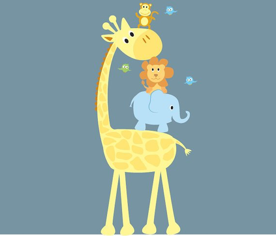 childrens removable vinyl wall decal Elephant Giraffe Monkey Lion Birds great for nursery playroom