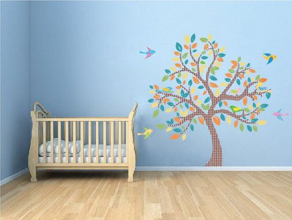 Kids tree vinyl wall decal with 9 birds coordinate Migi Little Tree bedding by Bananafish