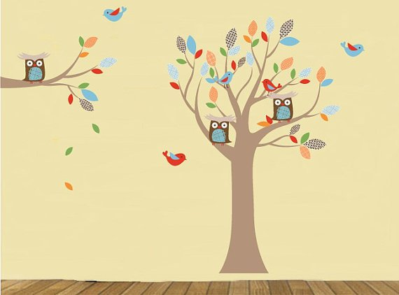 Kids tree and tree branch set vinyl wall decal with birds owls and pattern leaves falling leaves