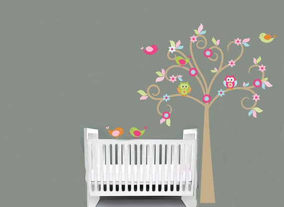 Kids tree vinyl wall decal with birds owls flowers and pattern leaves so sweet for any nursery