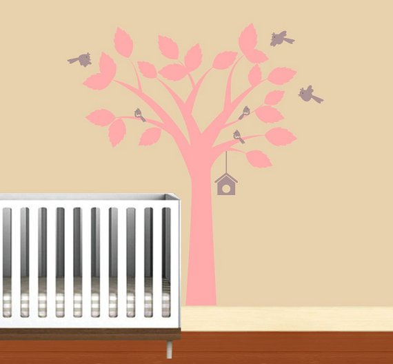 pink tree with bird house hanging and 6 birds vinyl wall decal so sweet for a nursery