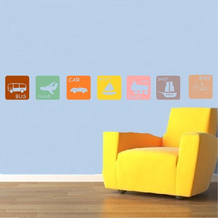 kids childrens Modern TRANSPORTATION squares vinyl wall decal