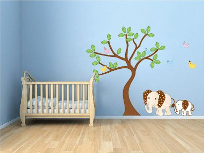 Kids tree vinyl wall decal with 6 birds 2 Elephants
