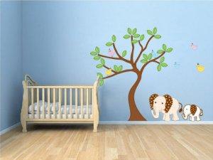 Kids tree vinyl wall decal with 6 birds 2 Elephants