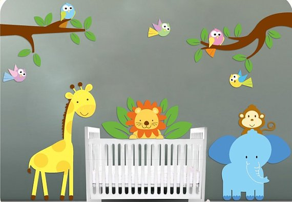 childrens removable vinyl wall decal Elephant Giraffe Monkey Lion Birds with 2 tree for nursery room