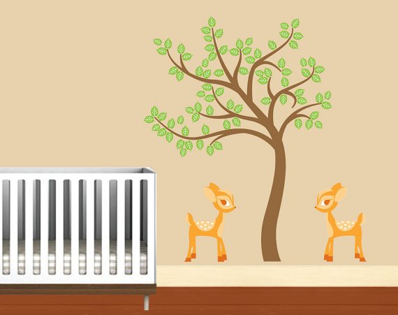 Kids tree with 2 baby deer vinyl wall decal so cute for any room or nursery