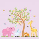 Kids vinyl wall decal Tree with Elephant Giraffe Monkey Lion Zebra birds cute girl Safari