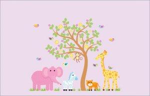 Kids vinyl wall decal Tree with Elephant Giraffe Monkey Lion Zebra birds cute girl Safari