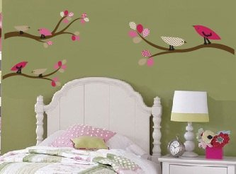 Kids tree branch set of 3 vinyl wall decal with 6 penelope birds