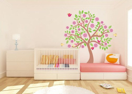 Kids tree vinyl wall decal with 10 birds and flowers