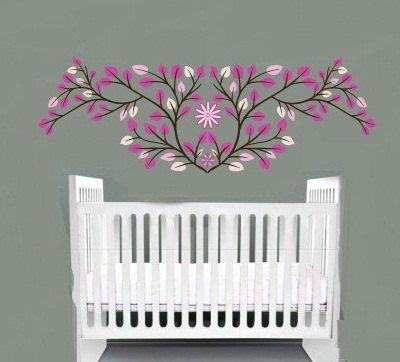 Nursery pink leaves vine tree branch with flower vinyl wall art decal