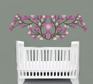 Nursery pink leaves vine tree branch with flower vinyl wall art decal