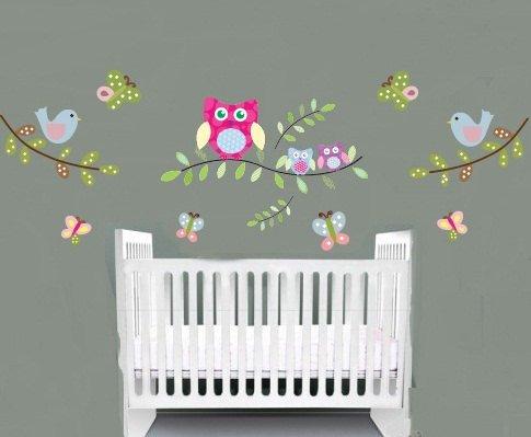Kids nursery set of 3 branches owls and 6 butterflies vinyl wall art decal