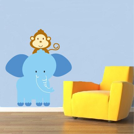 childrens removable vinyl wall decal Elephant with monkey great for any nursery kids playroom