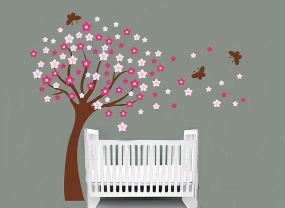 pink flower tree with flowers and butterflies vinyl wall decal so sweet for a nursery