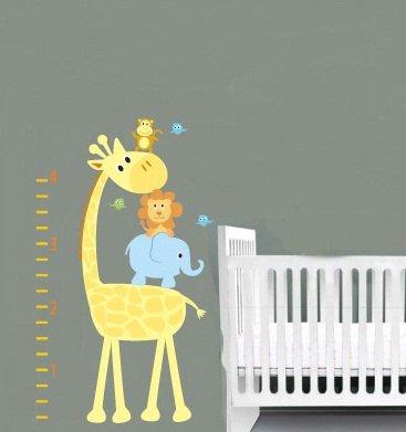 Kids removable vinyl wall decal Elephant Giraffe Monkey Lion Birds growth chart for nursery room