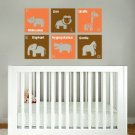 kids childrens Modern animal squares with letter and name vinyl wall decal