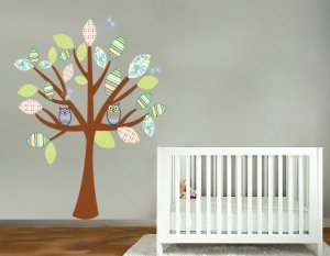 Kids patchwork love tree vinyl wall decal with owls and butterflies big pattern leaves