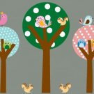 Kids Set of 3 circle round tree birds owls squirrels vinyl wall decal cute for nursery