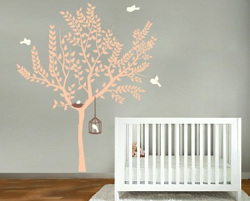 pink tree with bird nest and bird cage with birds set vinyl wall decal so sweet for a nursery