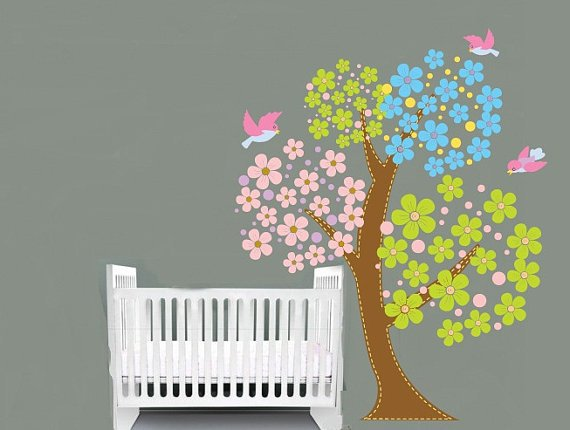 ON SALE Kids flower Blossom tree with birds and polka dots vinyl wall decal