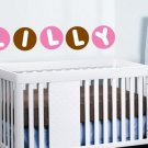 Kids initial monogram name circle polka dots vinyl wall decal