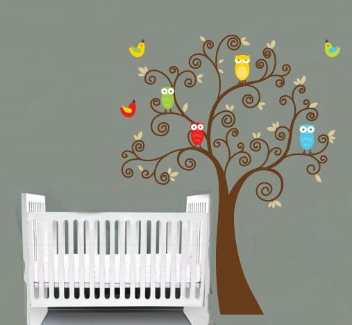 Kids tree with a set of 4 owls and birds vinyl wall decal cute for a nursery or childs room
