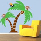 removable vinyl wall decal palm tree with Monkey and parrot bird great for nursery kids room
