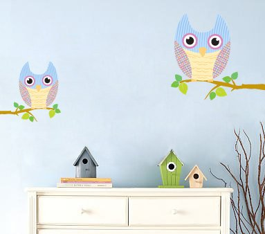 Kids tree branch vinyl wall decal with set of 2 branches and 2 owls