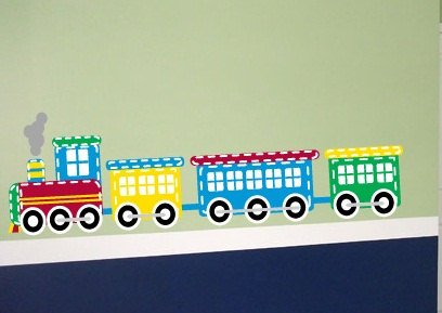 Modern Kids childrens colorful Train vinyl wall decal