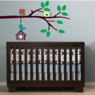 Kids tree branch with hanging bird house owl and birds Vinyl wall decal cute for nursery
