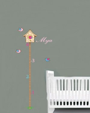 kids vinyl wall decal birdhouse growth Chart with birds and grass great for nursery or kids room