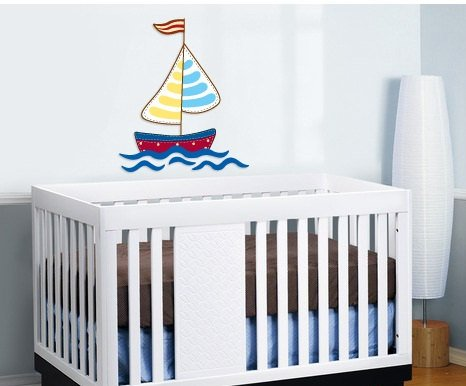 kids sail boat with water Removable vinyl wall decal nursery sticker mural