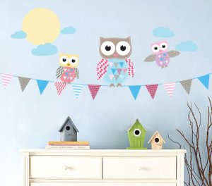 Kids banner vinyl wall decal with flags 3 owls moon and clouds