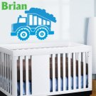Kids initial monogram name with boys Dumptruck removable nursery vinyl wall decal for kids room