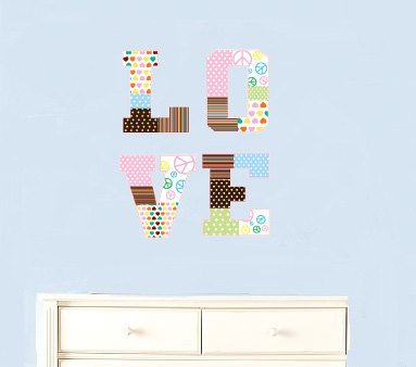 Kids initial monogram LOVE patchwork letters vinyl wall decal