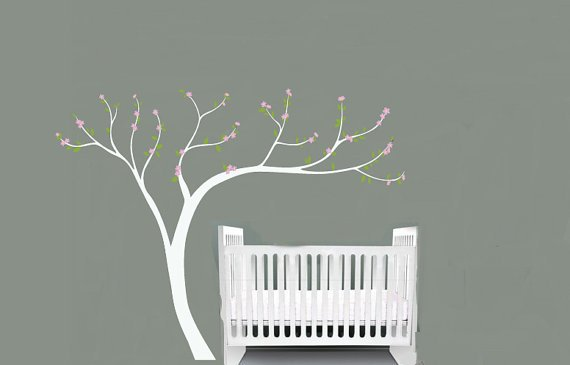 "Kids Cherry Blossom tree white trunk vinyl wall decal 108""x84"""