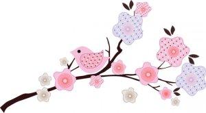 Kids tree branch vinyl wall decal with 4 birds coordinates with BananaFish Migi Blossom bedding