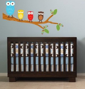 Kids tree branch with a set of 4 owls vinyl wall decal cute for a nursery or childs room